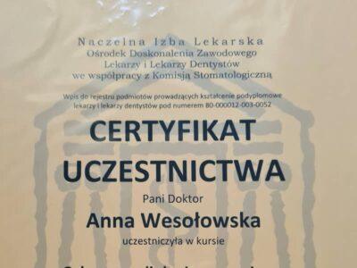 lek. stom. <span>Anna Wesołowska</span> 15